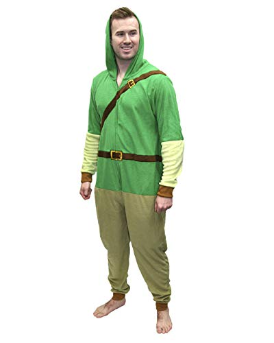 Legend of Zelda Mens Link Onesie Costume Pajama Union Suit 2XL / 3XL Green
