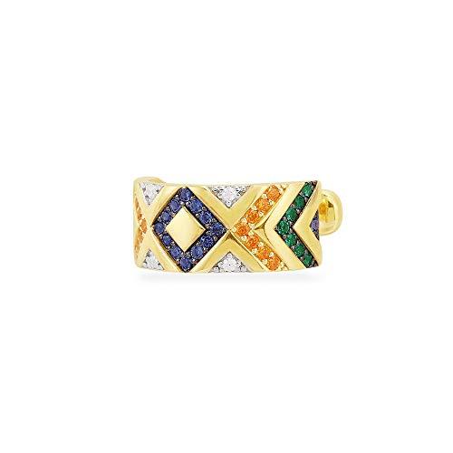 feilai Pendientes bohemios étnicos de rayas multicolor con clip en los pendientes de oreja sin piercing para cartílago (Color de metal: 2)