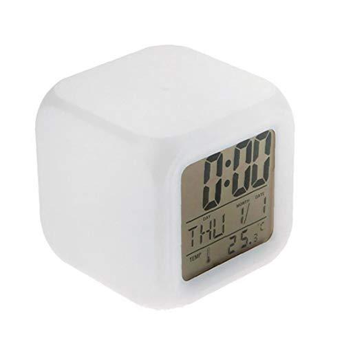 Relojes digitales para niños Despertadores 12/24 Horas grandes números Pantalla LED con luz nocturna de alarma, Repetir, Calendario para los accesorios de iluminación dormitorios casa de niños