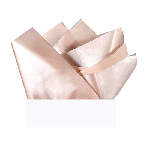 UNIQOOO 40 Sheets Premium Metallic Rose Gold Champagne Gold Tissue Gift Wrap Paper Bulk - Recyclable Gift Wrapping Accessory - Perfect for Gift Bags, Wedding, Party, DIY Crafts - 20' X 26'
