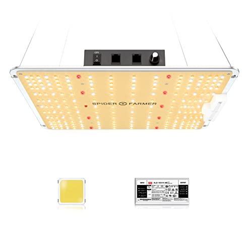 SPIDER FARMER SF-1000 LED Grow Light Use with Samsung LM301B LEDs Daisy Chain Dimmable Full Spectrum Grow Lights for Indoor Plants Veg Flower Greenhouse Growing Lamps with MeanWell Driver