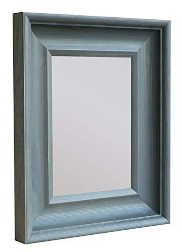 BD ART Wandspiegel Grau 35x35 cm Zeitlos Eleganter Holzrahmen, Grauer Rechteckiger Spiegel