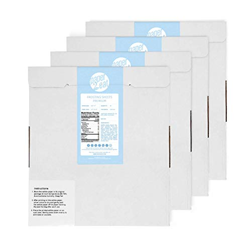 """paper2eat Frosting Sheets Premium (Icing Sheets) 8.5"""" x 11"""" – 96 count – White Edible Printer Paper"""