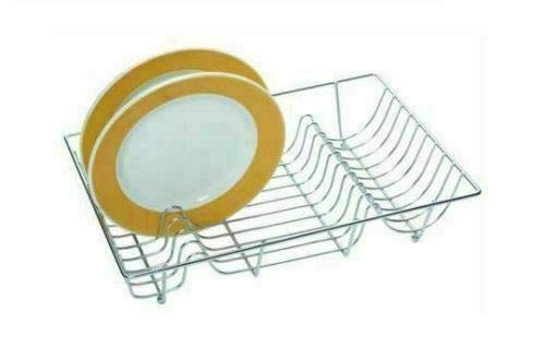 TRTO CHROME LARGE CUTLERY METAL WIRE DISH DRAINER DRAINING HOLDER PLATE RACK KITCHEN SINK