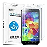 OMOTON [2pack]Cristal Templado Galaxy S5 Protector de Pantalla Vidrio Templado Para Samsung Galaxy S5[2.5d Borde redondo]con[9H Dureza][Alta Definicion][Garantía de por vida]