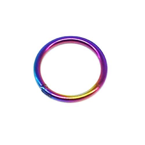 XYBH Anillo de titanio G23, anillo de diafragma abierto, pequeño diafragma, pendientes perforados para señoras y hombres (piedra principal: 1,2 14 mm, color del metal: colorido)