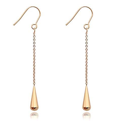 halsketting 1 paar 18 k titanium staal kleine waterdruppel vorm lange ketting oorbel voor vrouwen mousserende hanger charme bruiloft sieraden accessoires, kleur naam: Rose goud