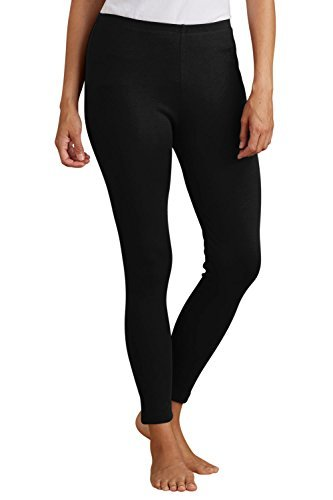 Fair Indigo Organic All Cotton Ankle Length Leggings (L, Black)