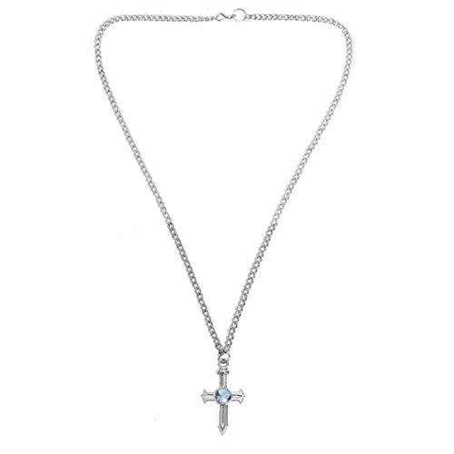 Collier Femme Fairy Tail Gris Croix Collier Cosplay Croix Collier accessoire bijoux Lady