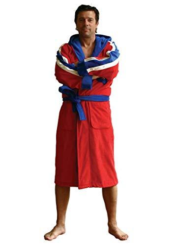 Funky Bademantel - Herren Bademantel Champ mit Namen Bestickt - Rot - 100% Baumwolle - Kapuze - Bademantel mit Namen besticken - M