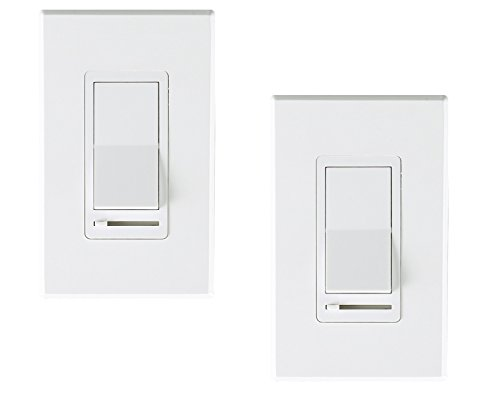 Cloudy Bay in Wall Dimmer Switch for LED Light/CFL/Incandescent,3-Way Single Pole Dimmable Slide,600 Watt max,Cover Plate Included-Pack of 2