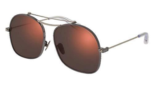 Alexander McQueen AM0088S 006 59 Gafas de sol, Gris (006-Ruthenium/Red), Unisex Adulto