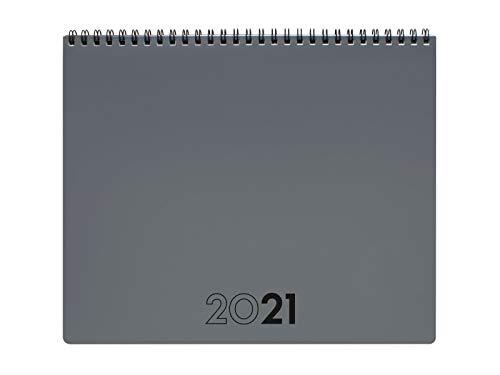 Finocam 625505021 - Planificador Agenda 2021 Mes vista + notas Gris Internacional, Sobremesa - 250x200 mm