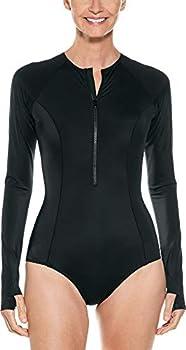 Coolibar UPF 50+ Women s Escalante Long Sleeve Swimsuit - Sun Protective  Medium- Black