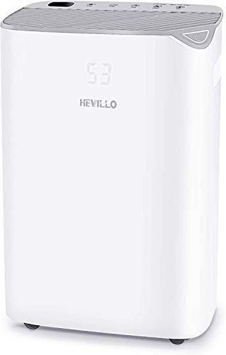 HEVILLO 40 Pint Dehumidifier for Home Basements Bedroom Garage, Spaces up to 2000 Sq Ft, with Continuous Drain Hose and Wheel, 0.66 Gallon Water Tank Capacity, Intelligent Humidity Control (Gray)