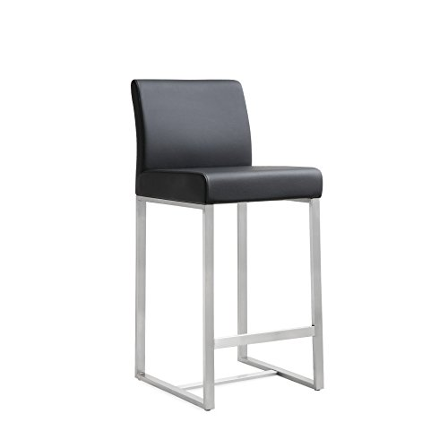 Tov Furniture The Denmark Collection Stainless Steel Metal Leather Upholstered Industrial Modern Counter Stool with Back, Black, Set of 2