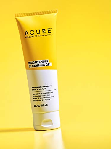 ACURE Brightening Cleansing Gel   100% Vegan   For A Brighter Appearance   Pomegranate, Blackberry & Acai - Antioxidant- Rich & Super Gentle   All Skin Types   4 Fl Oz