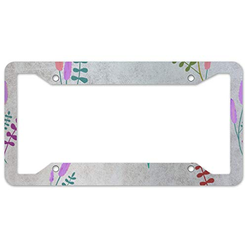 WOSITON Floral Pattern License Plate Frame 4 Pieces Design License Plate Frame With 4Holes Fite For Garage white 16x31cm