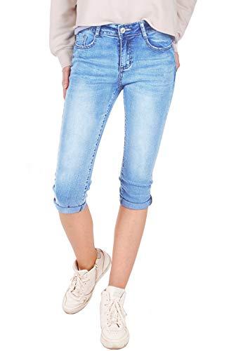 Fraternel Damen Jeans Hose Shorts Capri Knielang Stretch Hellblau XXL / 44