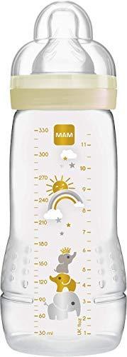 MAM Biberon Easy Active 2e âge, 330 ml – 6+ mois – Tétine débit X, vitesse ultra-rapide – Ivoire
