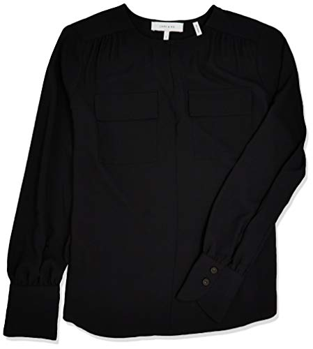 Amazon Brand - Lark & Ro Women's Crepe de Chine Long Sleeve Utility Crewneck Top, BLACK, XS