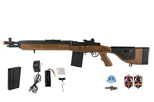 Lancer Tactical LT-732 DMR Stock 38' M14 SOCOM Airsoft AEG Rifle Faux Wood 380 FPS