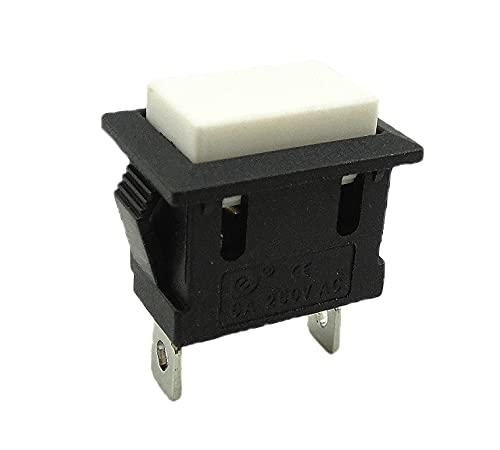 Interruptor OFF/ON de 1 polo (2 pines) 6 A, 250 V, instalación de 19,5 x 12 mm, pulsador no encaja.