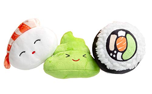 Pearhead Pet Sushi Bento Toys, Set of 3, Multiple (51034)