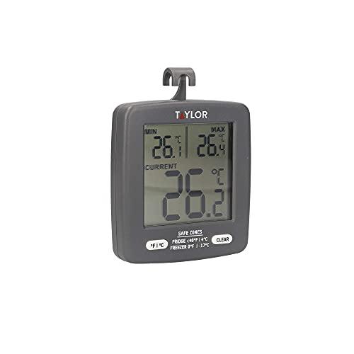 Taylor Pro Digital Fridge Freezer Thermometer with Energy Saving Min   Max Temperature Display, Plastic, 7.5 x 8cm