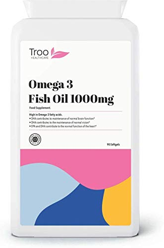 Omega 3 Fish Oils 1000mg 90 Capsules   High Strength Daily Omega 3 Fatty Acid Supplement with DHA and EPA   UK Manufactured to GMP Standards