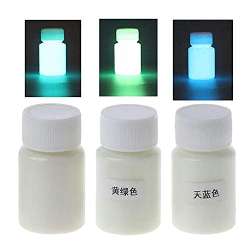 YUSHU, 3 colores, superbrillante, luminoso, de resina epoxi, pigmento que brilla en la oscuridad, colorante líquido, arte corporal, juego de pintura UV, cada 15 g de lejía, grado alimenticio, maquilla