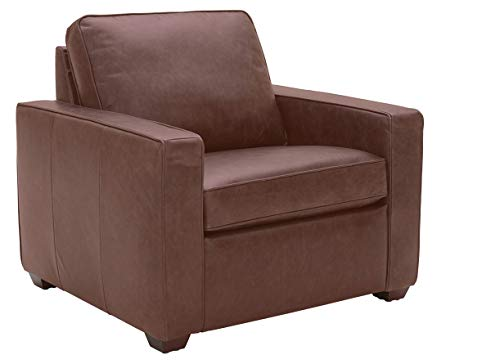 """Amazon Brand – Rivet Andrews Contemporary Top-Grain Leather Chair with Removable Cushions, 40""""W, Dark Brown"""