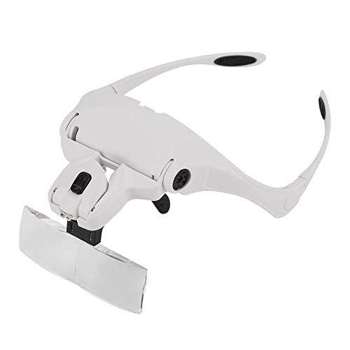 zdw Lente d\'ingrandimento a specchio per occhiali a specchio portatile con luce a led -1.0X / 1.5X / 2.0X / 2.5X / 3.5X Zoom con 5 lenti rimovibili montate sulla testa con lente di ingrandimento con
