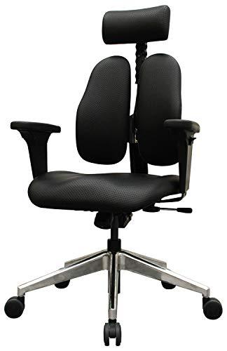 デュオレスト オフィスチェア ブラック 可動肘 PUレザー 可動ヘッドレスト 腰痛対策 姿勢サポート DR-7550GD 2SBK2 総幅69×総奥行69×高さ106~123cm 座高41~52cm