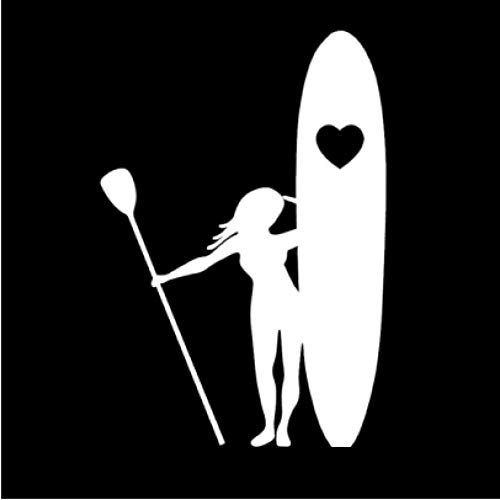 Empty 4 Piezas Pegatina de Coche 15 * 10,2 cm Chica Stand Up Paddle Boarding Heart Love Surf Beaut Vinilo calcomanía Accesorios de Coche Pegatinas de Coche Blanco