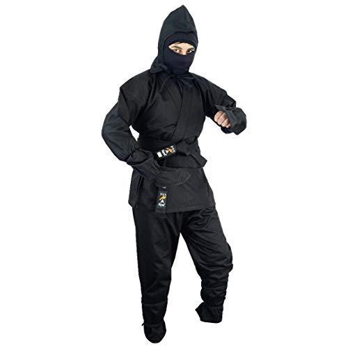 Playwell Martial Arts Ninja-Anzug, Schwarz 3/160cm