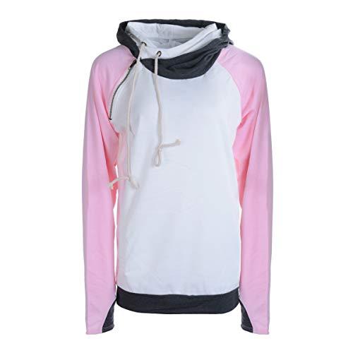 Suéter con capucha de invierno para mujer, informal, manga larga, color block suéter