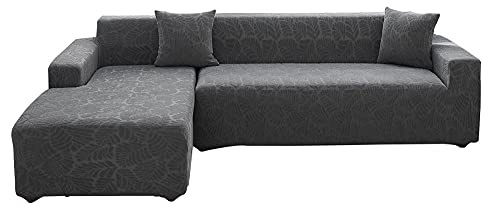 BEYRFCTA Furniture Protector Cover Soft with Elastic Bottom for Kid, Super Stretch Sofa Slipcover, Pets.Jacquard Small Checked Pattern Fabric-Gray_Double Position,Exquisite Stoffe