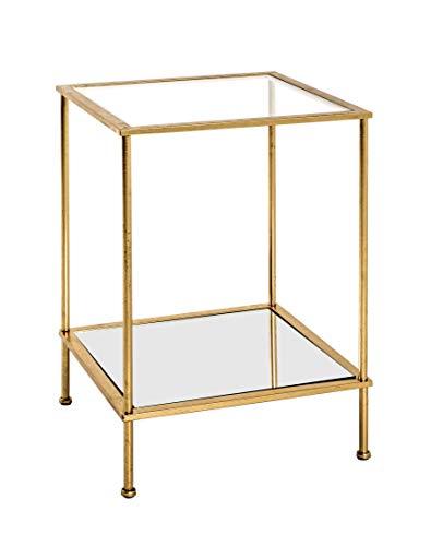 HAKU Möbel Mesa Auxiliar, Espejo, Cristal Transparente de Seguridad, Dorado, 39 x 39 x 55 cm