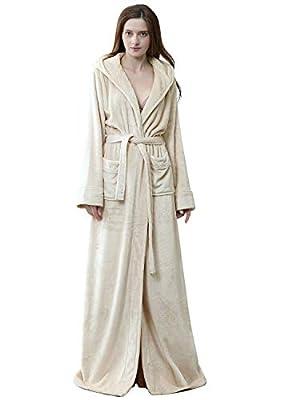 Womens Luxurious Full Length Hooded Plush Fleece Robe, Long Bathrobe