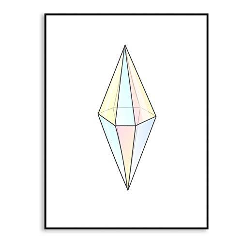 WSNDGWS Abstract geometrisch kristalpatroon, modern decoratief schilderwerk, geen fotolijst