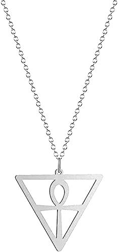 WYDSFWL Collar con Colgante de Cruz Triangular, Collar con Colgante de Llave egipcia Dorada de Color, joyería de Acero Inoxidable para Hombres y Mujeres, Regalos para Hombres y Mujeres