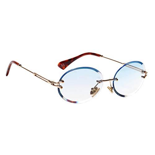 Amuzocity Gafas de Sol Sin Montura para Mujer, Corte de Diamante, Montura de Metal - Azul