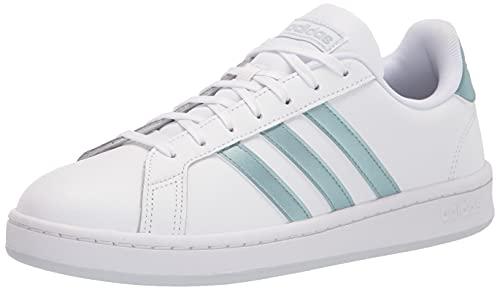 adidas Women's Grand Court Tennis Shoe, White/Vision Metallic/Halo Blue, 8.5