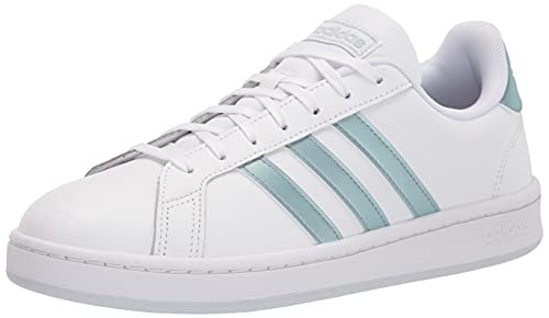 adidas Zapatillas Grand Court para mujer, (Blanco/Vision Metallic/Halo Blue), 38 EU