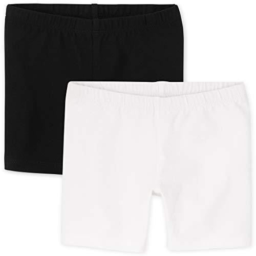 The Children's Place Baby Toddler Girls Bike Shorts, Black/White 2 Pack, 5T