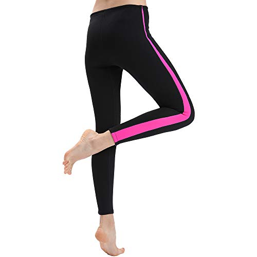 REALON Wetsuit Pant Womens Compression Leggings Girls Surfing Swimming Tights Stretch Body Scuba Diving Snorkeling Canoe Trousers (Rose Black 1.5mm, 2XL)