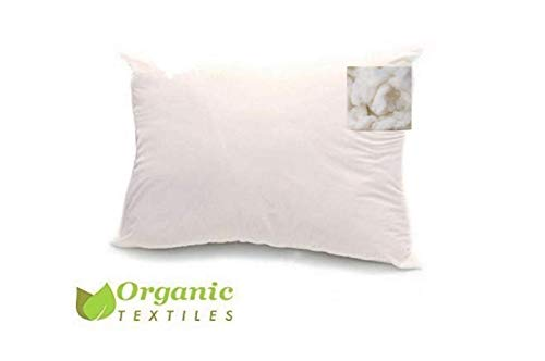 Natural Wool Filled Bed Pillow (Standard Size, Medium Fill) with 100%...