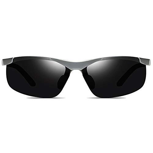 KK Timo Gafas de sol de aluminio y magnesio UV400 para deportes al aire libre, color negro/plateado/gris, lentes grises para hombres y mujeres con las mismas gafas de sol de conducción (color: gris)