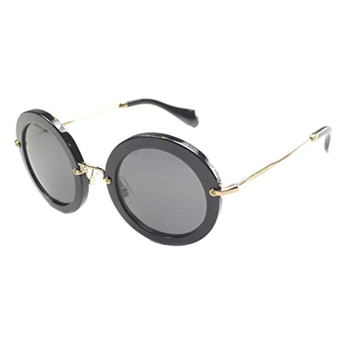 Miu Miu Damen MU 13NS 13NS Rund Sonnenbrille, 1AB1A1, Black, Grey